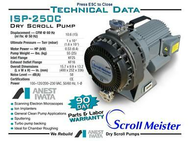 Anest Iwata  ISP-250C Scroll Dry Vacuum Pump , New with 12 month warranty