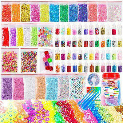 82Pcs Slime Supplies Kit Beads Balls Charms Mud Kid Gift Clay Toy Making Tool AU