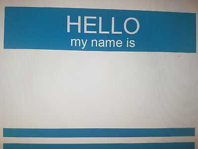 "50 BLUE ""HELLO MY NAME IS"" NAME TAGS LABELS BADGES STICKERS - Self Adhesive"