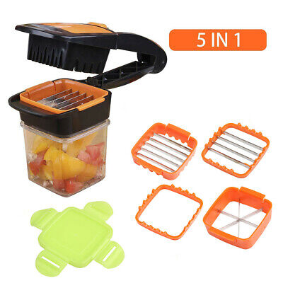 Nicer Quick 5-in1 Dicer Fruit Vegetable Cutter Set Chopper Stainless Steel Kit