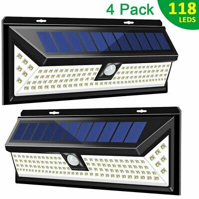 118LED Solar Powered PIR Motion Sensor Wall Security Light Lamp Garden Outdoor