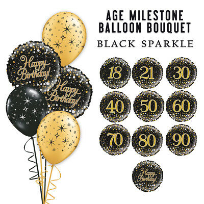 Black Gold Holo Gatsby Bouquet 18Th 30Th 40Th 50Th Party Birthday Balloons