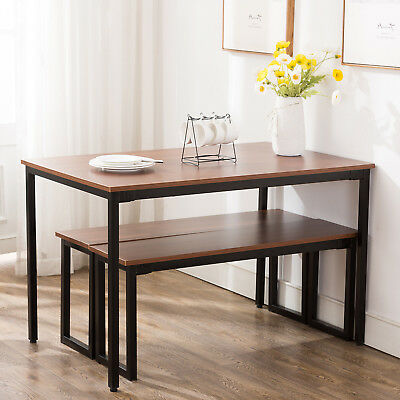3 Piece Wooden Dining Table Set With Benches Chair Kitchen Furniture Rectangular