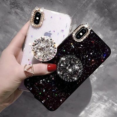 Fashion Luxury Bling Diamond Stand TPU Soft Case Cover For iPhone X 7 8 Plus Xs