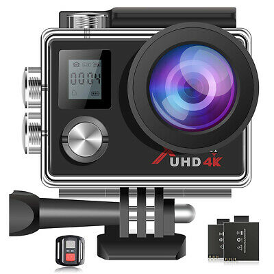 Campark Action Cam 4K Unterwasserkamera WiFi 16MP UHD Helmkamera Sports Cam+32GB