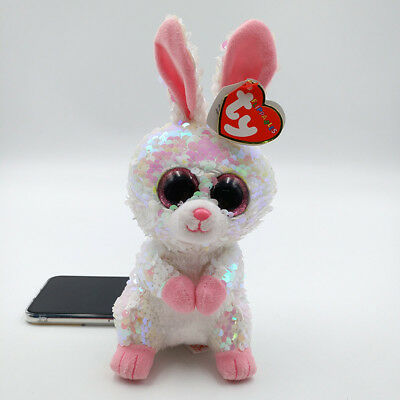 """Ty Beanie Boos Flippables 7/"""" Bonnie Tremor Dinosaur Sequin Colorful Kids Toy UK"""