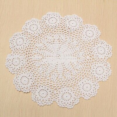 15'' White Round Pure Cotton Handmade Crochet Lace Doily Placemat Flower Mat