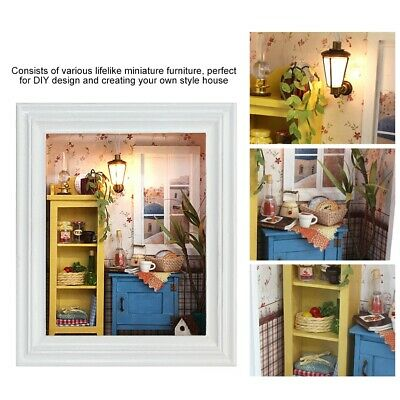 DIY Wood Dollhouse Photo Frame Assemble Kit Miniature Doll House With Furniture