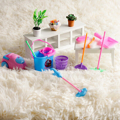 1SET 9pcs Mini Doll Accessories Household Cleaning Tools for  Dollhouse