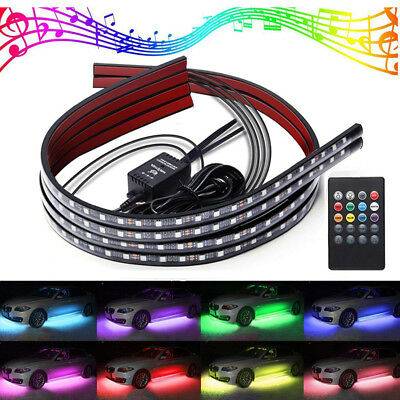 4x Car RGB LED Neon Under Glow Atmosphere Chassis Bar Light Controller Kit Deco