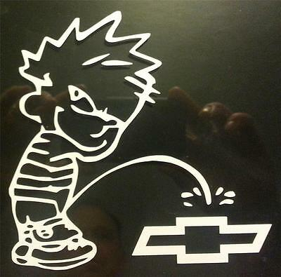 PISS ON CHEVY Vinyl Decal CHOOSE SIZE/COLOR boy peeing anti ford