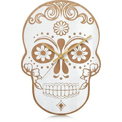 Wooden Skull 60s Style Wall Clock Home Decor Beautifully Detailed