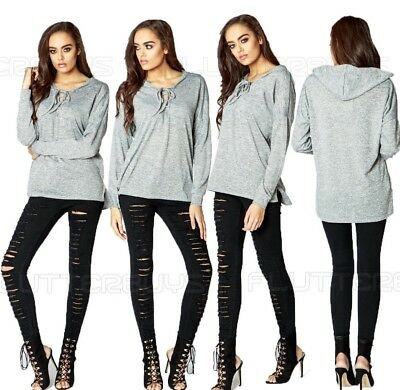 Womens Grey Winter Top Lace Up Hooded Jumper Shirt Blouse Sexy Size Ladies New