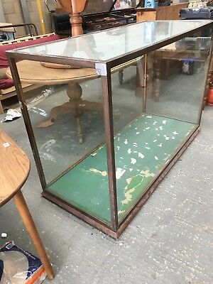 A Large Brass and Mahogany Museum Display Cabinet