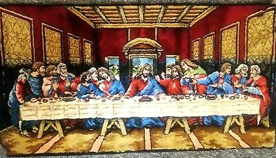 Vintage Velvet Tapestry Rug Wall Hanging The Last Supper Made In Italy