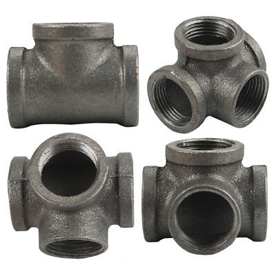 """Lot of 4 1"""" Side Outlet 4-Way TEE BLACK MALLEABLE IRON fitting pipe npt"""