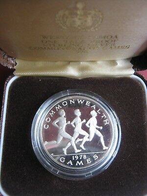 Western Samoa 1978 Sterling Silver Proof $1 Tala Dollar Coin Commonwealth Games