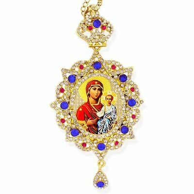 Madonna & Child Virgin of Don in Panagia Design Framed Icon Pendant Ornament w/