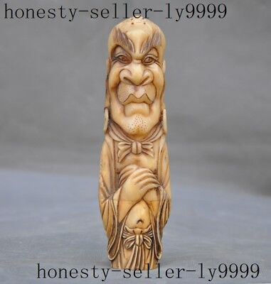 """6""""Rare old Chinese old Cattle bone Hand carved Buddhism arhat Lohan monk statue"""