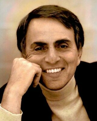 "CARL SAGAN ASTRONOMER ASTROPHYSICIST AUTHOR 8x10"" HAND COLOR TINTED PHOTOGRAPH"