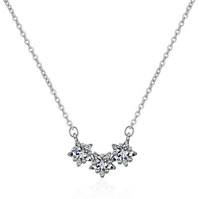 925 Sterling Silver Clear Crystal Star Pendant Necklace Women Fashion Jewelry