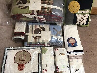 New 10p Pottery Barn Kids Junior Varsity Sports Crib Bumper Quilt Basketball set