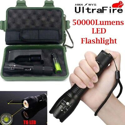 Tactical 50000LM Power T6 LED Flashlight Zoomable Torch Lamp Light+18650+Charger