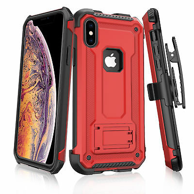 For All iPhone Shockproof Hybrid Rugged With Stand Belt Clip Defender Case