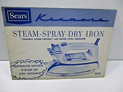Vintage Sears Kenmore Steam Spray Dry Iron Manual Instructions