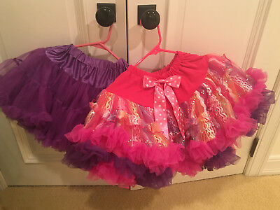 Pair of Kids Girls Tutu Skirt Tulle Fluffy Princess Dance Dress Party Ballerina
