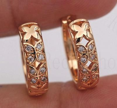 18K Yellow Gold Filled -- Retro Earrings Topaz Clover Circle Ear Stud Hoops Lady