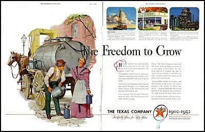 1952 Texaco 50th anniversary gas oil refinery large vintage art Print Ad  adL32