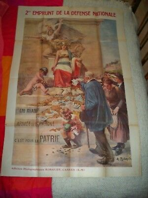 Ww1 - Affiche Guerre 1914-18, Robaudy  2 Eme Emprunt Defense Nationale