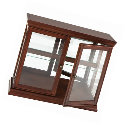 Southern Enterprises Double Door Curio with Mirrored Back Wall, Classic Mahogany