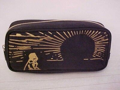 cathay pacific by agnes b black&gold zippered amenity travel cosmetic case