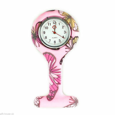 Pink Butterfly Silicone Nurse Watch Quartz Movement Unisex Tunic Fob Brooch Pin