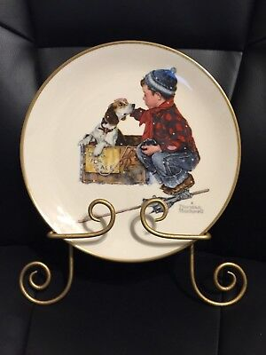"""Norman Rockwell 1971 Limited Edition Plate """"Winter"""" with Plate Wall Hanger"""