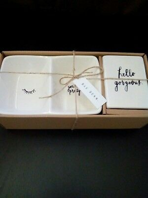 Rae Dunn Gift Set Hello Gorgeous Paperweight Wink Eye & Your Pretty Divided Tray