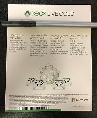 Microsoft Xbox Live Gold 14 Day Trial UNUSED