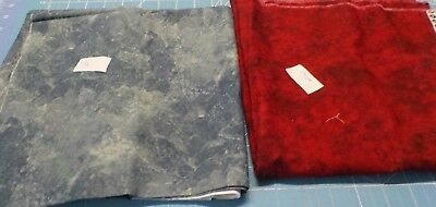 2 pieces cotton fabric batik type red and a blue/grey piece 1 yard plus each