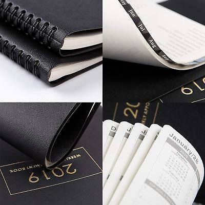 """2019 Weekly Appointment Book Planner Daily Hourly Tabs 8.5x11"""" Wirebound Black"""