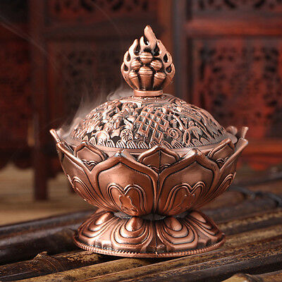 Red Copper Collectable Tibetan Lotus Figure Alloy Incense Burner Censer 1pcs WK