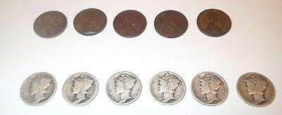 Lot of 6 Mercury Dimes and 5 Lincoln Wheat Pennies