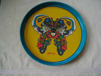 vintage Peter Max tray metal serving tray butterfly design 1960s groovy