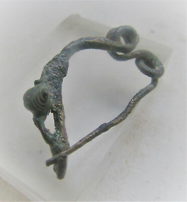 Rare Ancient Celtic La Tene Twisted Fibula Brooch. Unusual Attachment At Rear.