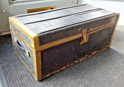 Small Antique Wooden Trunk Chest Box w Hinged Lid w/ Metal Hardware Rustic
