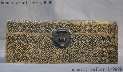 old China lacquerware wood carved lotus mandarin duck landscape jewelry box case