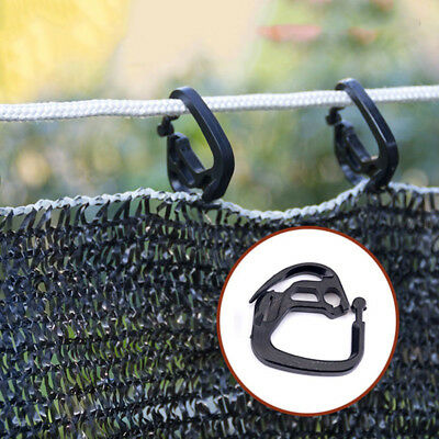 50pcs Hooks Garden Greenhouse Shade Net Clips Hanging Folding Supporting Black