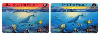 10- Save The Whales Phone Cards. 5x 10. & 5x  20. Phone Line USA. Expired Cards