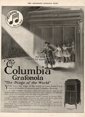 1916 Columbia Grafonola phonograph opera record player original vintage print ad